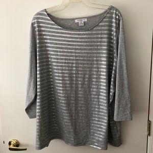 Liz Claiborne  Stripe T-shirt Size 3x Gently Used